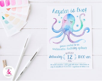 Blue Under The Sea Birthday Invitation, Personalized 2nd Birthday Party Invites, Watercolor [444]