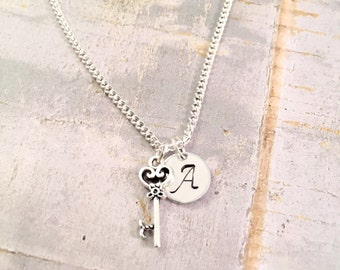 Key Necklace, Antique Silver key charm Necklace, Initial Jewelry, key Pendant, key Jewelry, Charm Necklace, best friend, For Her