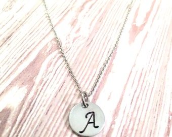 Personalized Initial necklace, monogram necklace, silver disc necklace, minimal necklace, hand stamped necklace, trendy necklace, For her