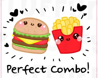 Burger and Fries/ Fastfood || Planner Stickers, Cute Stickers for Erin Condren (ECLP), Filofax, Kikki K, Etc. || DPS17