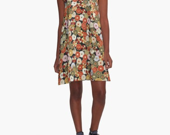 Golden Chrysanthemums A-Line Dress, 6 Sizes Available!