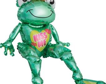 "28"" Frog prince balloon. valentine's day balloon. kiss me balloon. love. valentine's day party decor. frog balloon. frog prince decor"