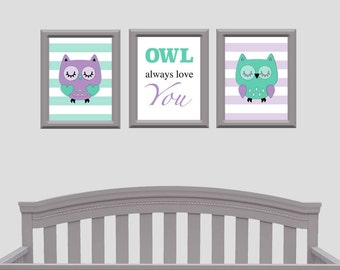 Owl Always Love You, Purple Nursery, Mint Nursery, Owl Nursery, Owl Bedroom Decor, Nursery Decor, Baby Shower Gift, Nursery Wall Art, Owl