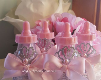 Princess Baby Bottle Favors/Princess Baby Shower/Baby Shower Bottle Favors/Pink and Gold Baby Shower/Princess Baby Favors/Baby Shower Favors