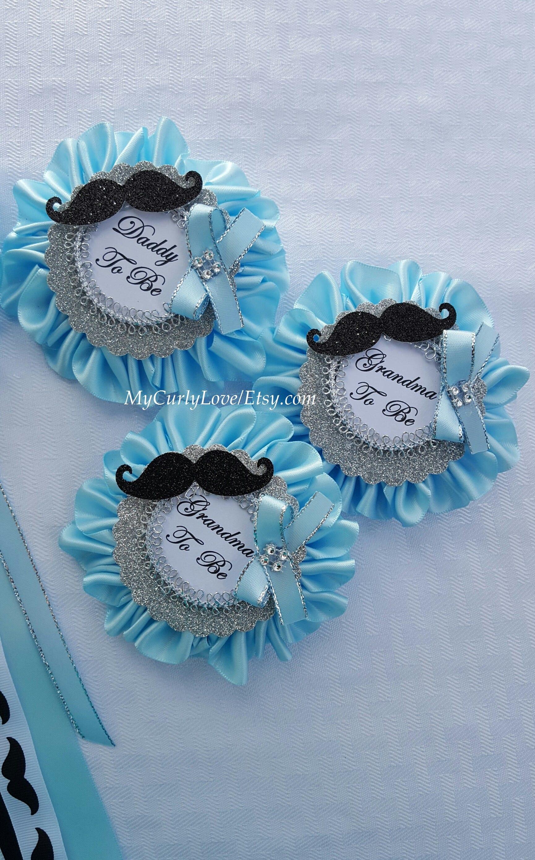 Mustache Baby Shower Corsage Mustache Baby Shower Pins Little