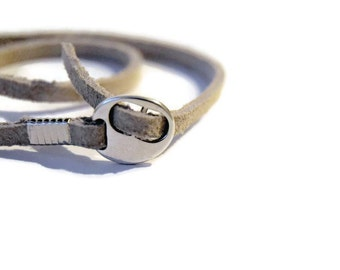 Suede Wraparound Bracelet - Mens suede bracelet - Buckle bracelet - Mens Grey Suede bracelet - Strappy Bracelet - Silver buckle bracelet