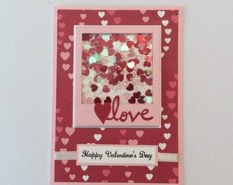 Valentine Card/ Valentine Shaker Card/ Love Valentine Card/ Valentines/ Red Pink White/ Hearts/ Valentine's Day