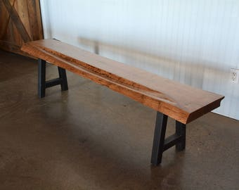 Live Edge Maple A-Frame Steel/Metal Bench - READY TO SHIP