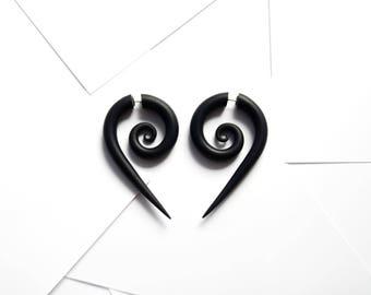 Fake gauge earrings black spirals fake gauges fake plugs