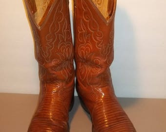 Vintage Justin Lizard Boots Exotic Cowboy Boots Western Boots Brown Leather Boots Mens Boots Size 9.5 B Work Boots T29 M7069