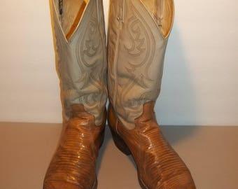 Vintage Dan Post Lizard Boots Western Boots Exotic Cowboy Boots Mens Boots Size 8 D T29 M7071