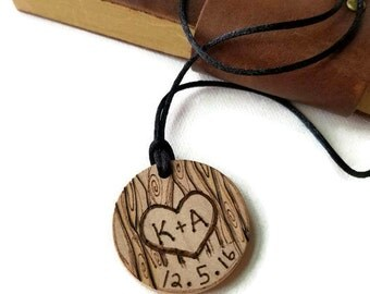 custom couples necklace, couples necklace, boyfriend gift, boyfriend necklace, gift for couples, custom wood necklace, couples pendant