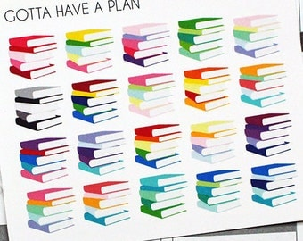 Planner Stickers Book Stack for Erin Condren, Happy Planner, Filofax, Scrapbooking