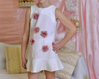 White wedding party flower girl dress/ Kids short dresses for weddings outfits/ Pink floral bridesmaid dresses/ Toddler baptism dress lds