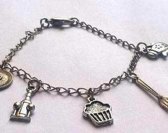 Food Charm Bracelet,  Chef Jewelry,  Champagne, Muffin, Fork, Plate, Teapot, Foodie