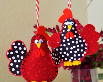TWO Chicken ornaments-Year of the Rooster decor-Spotted Chicken decor-Polka Dot felt and fabric Chicken tree-Country Farm Chicken decoration