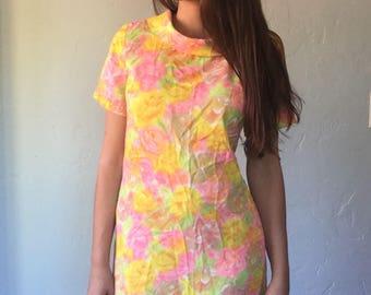 1960s Psychedelic Neon Flower Shift Dress