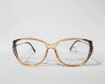 Vintage 80s Christian Dior Glasses Frames, NOS, Christian Dior 2810 Sunglasses Eyeglasses Rhinestones Frame, New Old Stock, Designer Eyewear