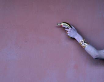 "Gold bracelet, gold cuff bracelet, geometric cuff, statement cuff bracelet, statement cuff, ""Centaurus"" cuff bracelet"