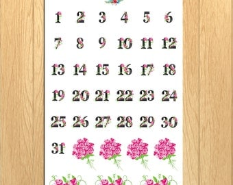 Floral Date Numbers Planner Stickers | Daily Numbers Stickers | Floral Stickers | Roses Flowers Stickers (DATE-002)