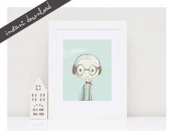 Printable Nursery Art-Printable Illustration-Boys Room Wall Decor-Baby Room Decor-Children Wall Art-Kids Print-Kids Poster-Instant Download