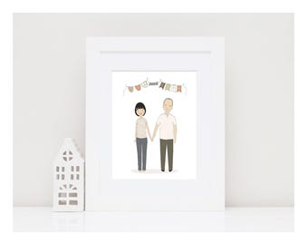 CUSTOM COUPLE PORTRAIT-Valentine Personalized Portrait-Bespoke Couple's Illustration-Bride Groom Illustration-Anniversary Gift-Hand drawn