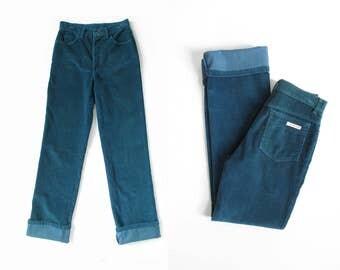 80s calvin klein corduroy jeans / 28 x 35 / vintage teal blue corduroy pants / slim fit straight leg / womens S - M