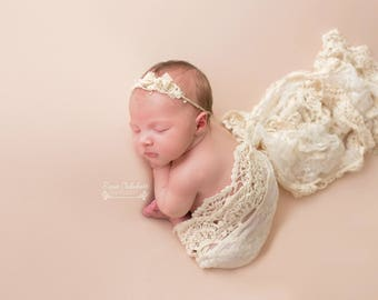 Extra long cream lace wraps,girly newborn props,neutral colour,UK seller,rts