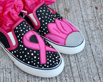 Breast Cancer Flower Hand Painted Custom Canvas Shoes / Gifts for Her / Breast Cancer Awareness / Flowers /Sneakers / Slip-ons / Hand Made