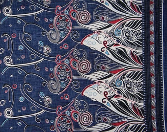 """Designer Fabric, Home Decor, Paisley Print, Navy Blue Fabric, Dress Material, Upholstery Fabric, 41"""" Inch Cotton Fabric By The Yard ZBC7156A"""