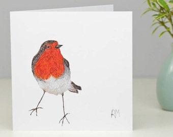 Robin Greetings Card - Robin Redbreast card - Embroidered Card - Greetings card -British Garden Birds Card - Twitchers card - Blank Card