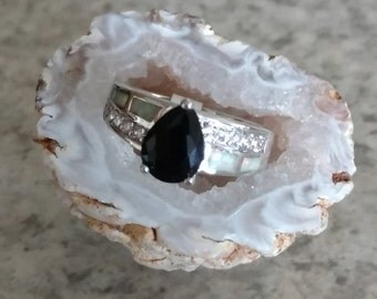 Opal and Onyx Party Ring, Size 6