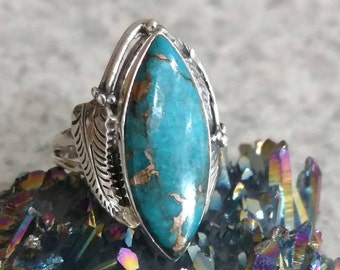 Copper Blue Turquoise Ring Size 6 1/2