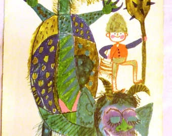 Vintage 1970s Eastern European-Hungarian Children's Book Illustration Book Page- Boy and Dragon- Framing- Retro Paper Ephemera