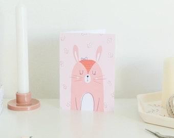 Carte de Félicitations Naissance Fille - Mignon lapin rose