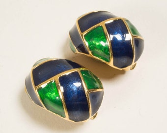 Earrings, clip on earrings, clip-ons, cloisonne-look, goldtone, vintage, 1980s