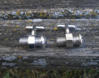 Vintage Nut & Bolt Cufflinks. Silver Toned. 1990s. Gift For Dad, Brother, Husband, Friend, Graduate, Mechanic, Idustry Worker.