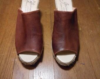 vintage handmade in spain gaimo brown leather open toe espadrille womens size 40 / 9 high heel mules