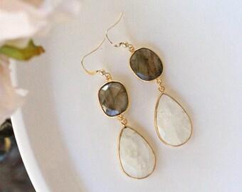 Pyrite & Moonstone Dangle Chandelier Earrings / Gold Filled / Wedding Earrings