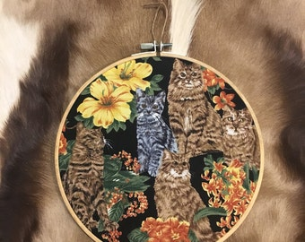 Crazy Cat Lady Print Embroidery Hoop Wall Hanging