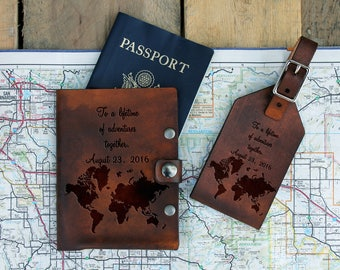 Genuine Leather Travel Set, Personalized Luggage Tag/Passport, Engraved Luggage Tag/Passport , Custom Luggage Tag/Passport --TS-DB-WorldMap