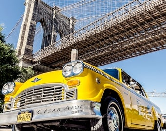 New York City Wall Decor,Instant Download Photography,Brooklyn Bridge photo, old taxi picture,retro home decor,vintage image,yellow art deco