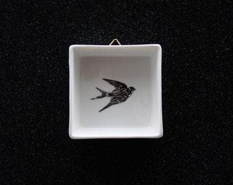 Mini ceramic painting Swallow, Screenprint, black and white, wall art, nature print, wall decor