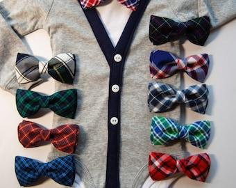 Grey Cardigan and plaid bow tie set