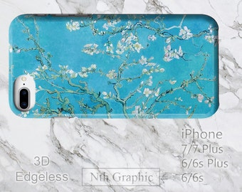 Galaxy S8 Plus Almond Blossom Flower Phone Case, iPhone 7 Impressionist Blue van Gogh Paint Art, Light 3D Edgeless S8+ iPod Touch 6 Cover