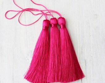pink tassels, magenta tassels, luxe silk tassels, boho tassels, jewelry supply, A015