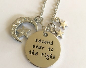 Second Star To The Right Handmade necklace Peter Pan Jewelry free birthstone and gift bag