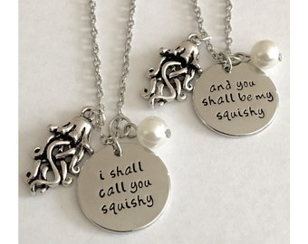 Set of 2 I shall call you squishy and you shall be my squishy Necklace Handmade initial necklace Jellyfish necklace Jewelry free gift bag