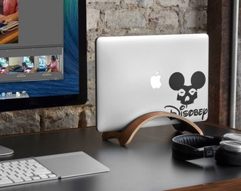 Disobey Decal Sticker for Apple Macbook and other Laptops | Grunge Style Mickey Skull Laptop Decals | Fight for your rights moto