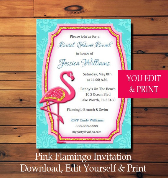 Pink flamingo invitation pink flamingo party invitation pink il570xn solutioingenieria Images